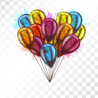 Balloons on transparent background. Vector sketch for greeting cards heart shaped. Bunch of balloons isolated. Yellow red orange blue balloons. Doodle design. Retro vintage style. Watercolor spots. clip art vector