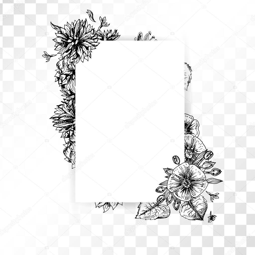 Rahmen mit Hand gezeichneten Vintage Blumen auf transparenten ...