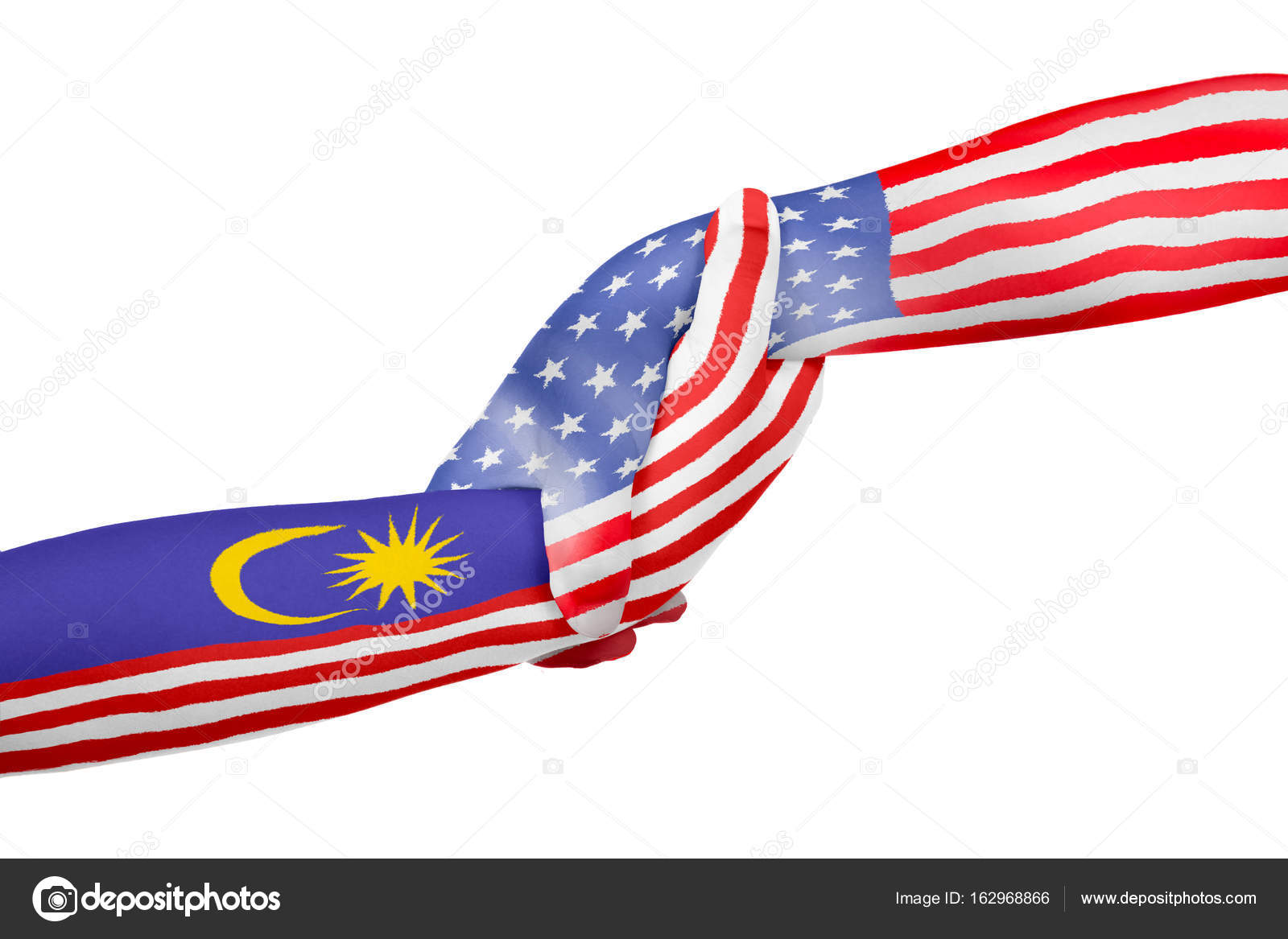 Helping Hands Of America >> Helping Hands Of United States Of America And Malaysia Stock Photo