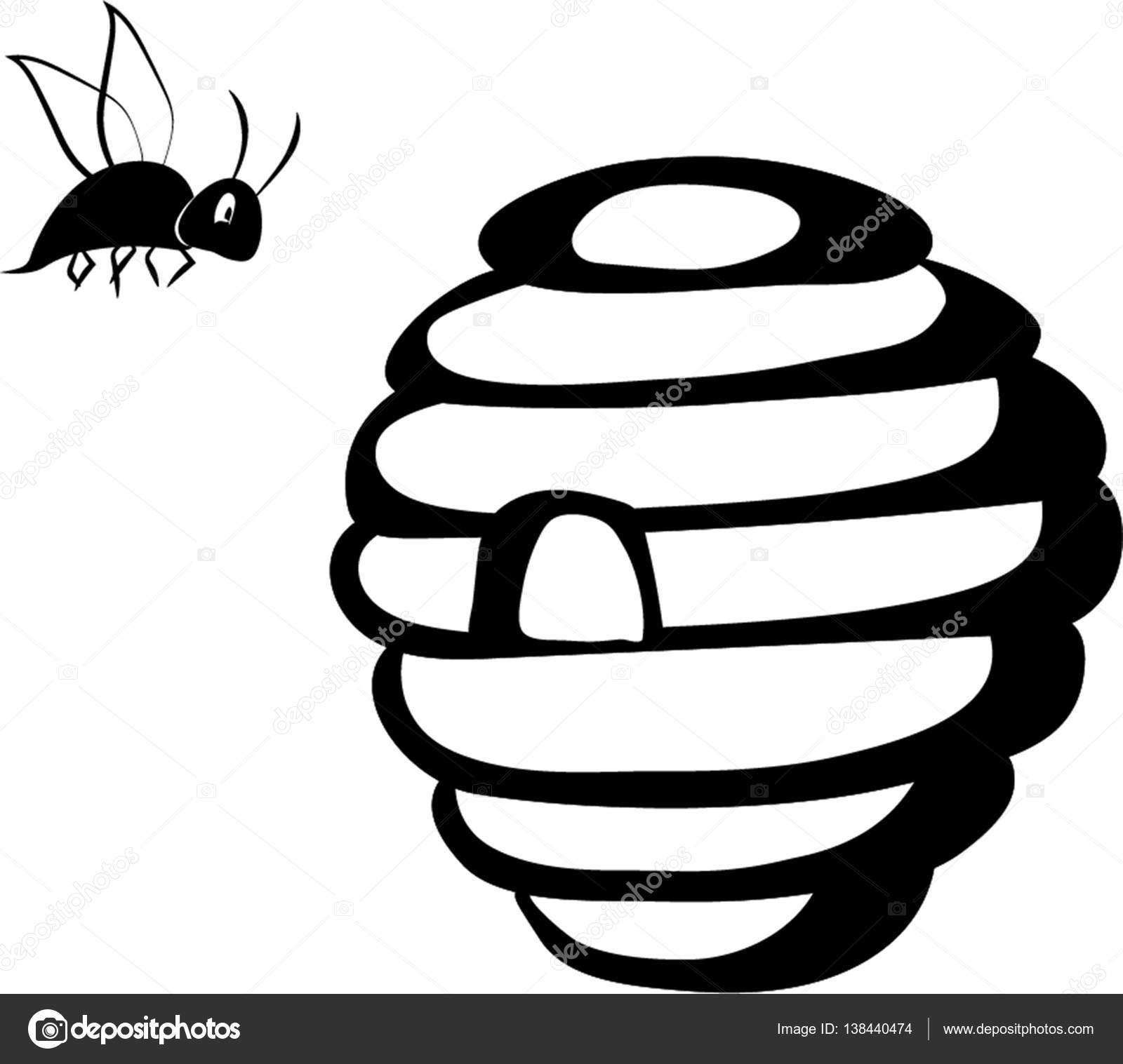 Dessin de contour de ruche sauvage avec abeille image - Dessin contour ...