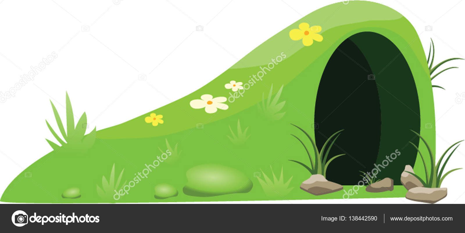 An Illustration Of Cartoon Green Hill With Grass Flowers And Animal Hole Vector By Itsmokko