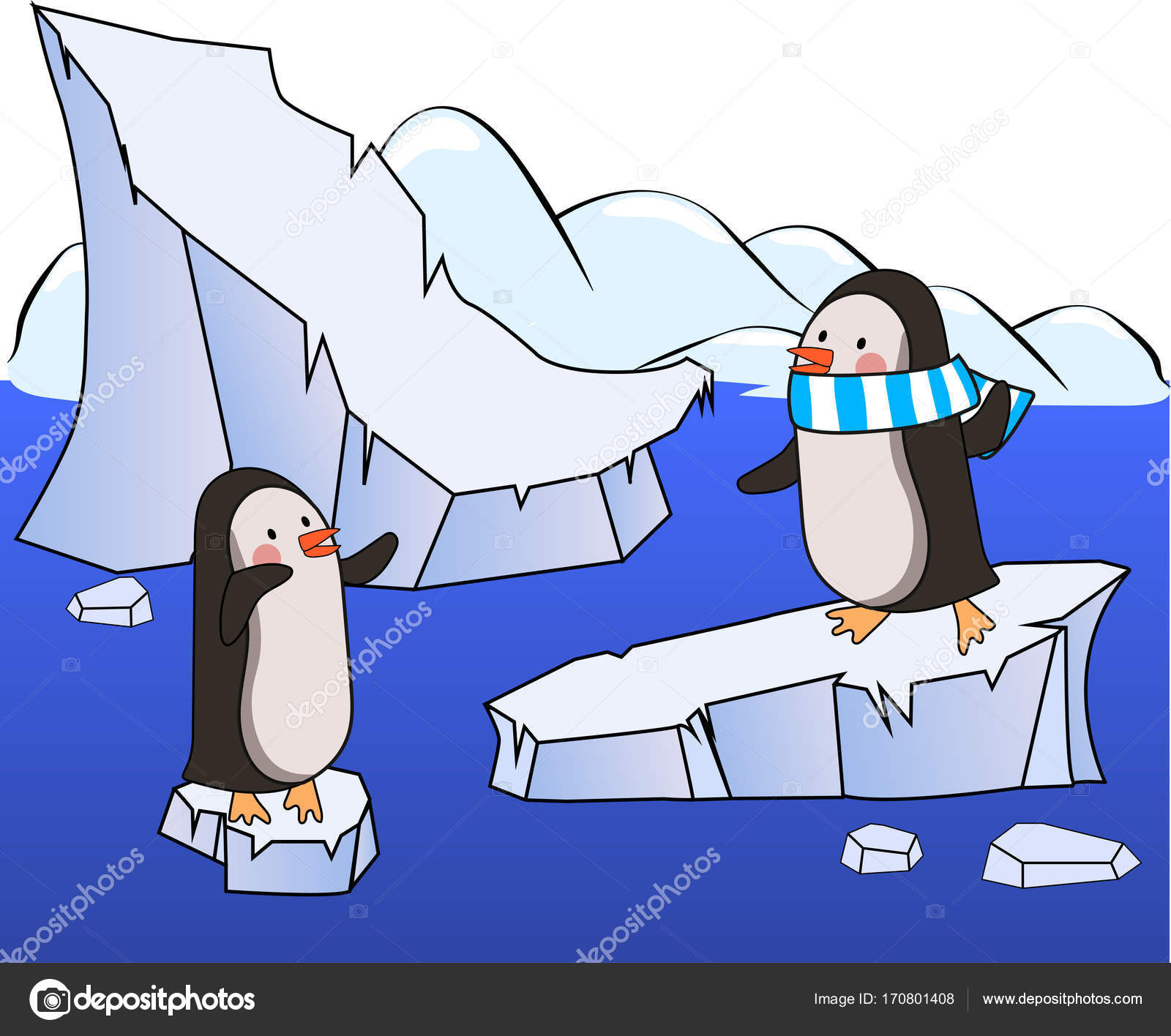 Two Cartoon Penguins On An Ice Floes Looking And Waving Each Other
