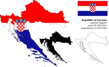 Republic of Croatia  vector map, flag, borders, mask , capital, area and population infographic