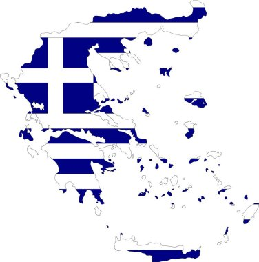 Greece vector map with flag. Isolated, white background icon