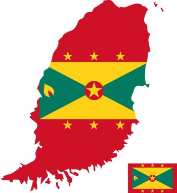 Grenada vector map with flag. Isolated, white background icon