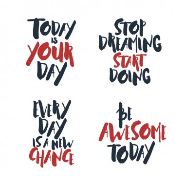 Set of inspirational vector quotes.