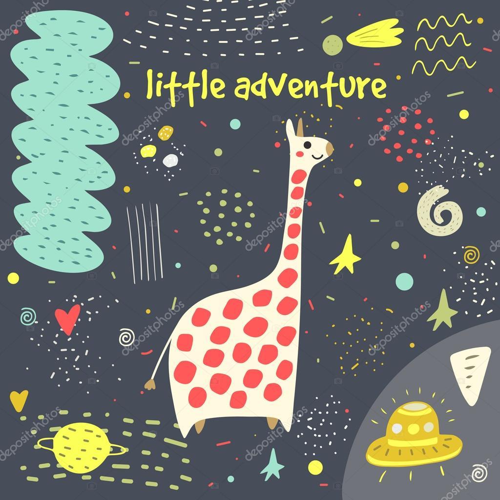 Cute hand drawn card, postcard with giraffe