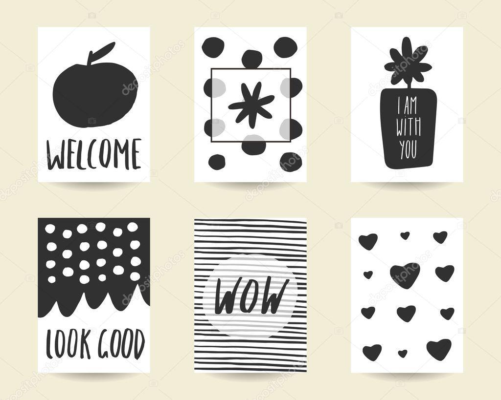 Cute hand drawn doodle black stylish birthday cards,
