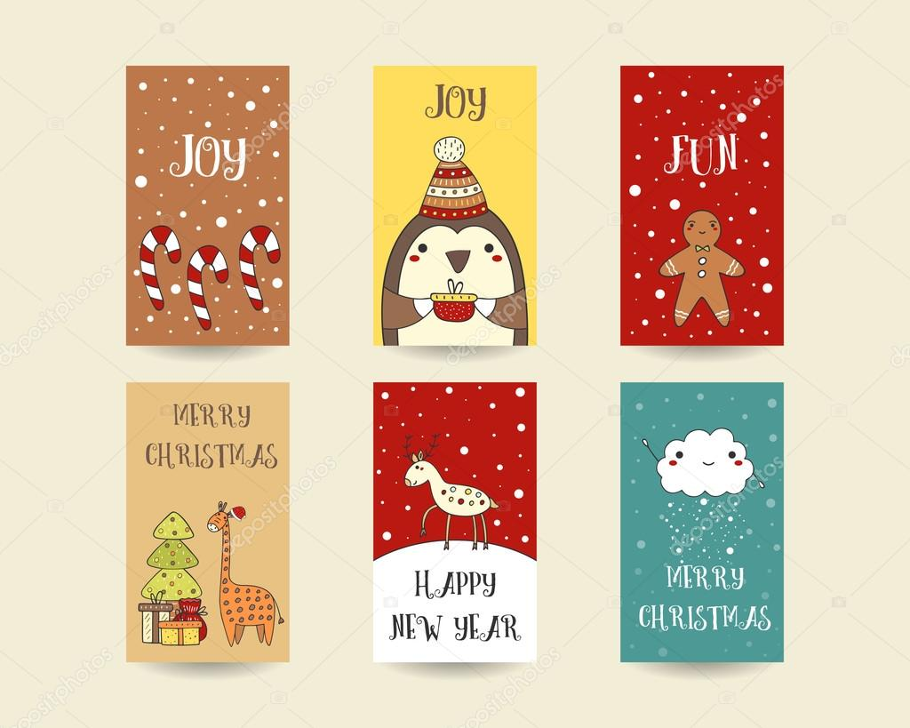 Cute Christmas Cards.Cute Hand Drawn Christmas Cards Stock Vector