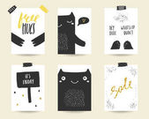 Cute doodle black and gold birthday cards