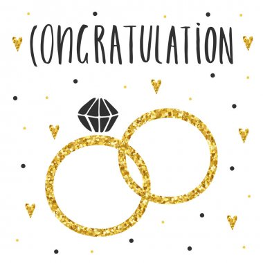 Cute hand drawn card, postcard with marriage rings, hearts, polka dots. Background with congratulation lettering quote clip art vector