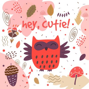 Cute hand drawn card, postcard with owl