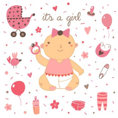 Cute hand drawn doodle baby shower cover