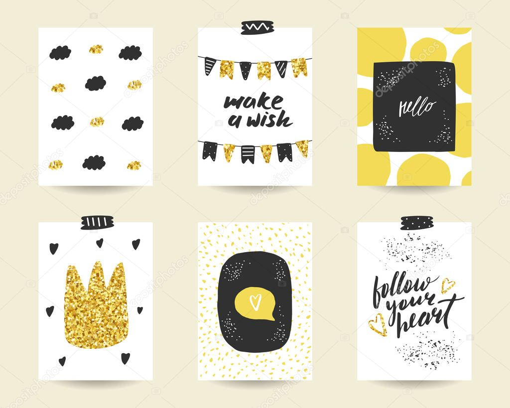 Cute Doodle Black And Gold Birthday Cards Stock Vector