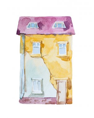 Watercolor high-rise building in old stile