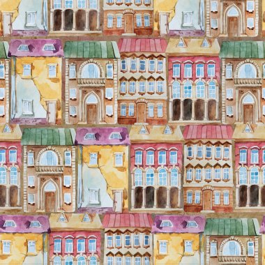 Watercolor seamless pattern of bright old building