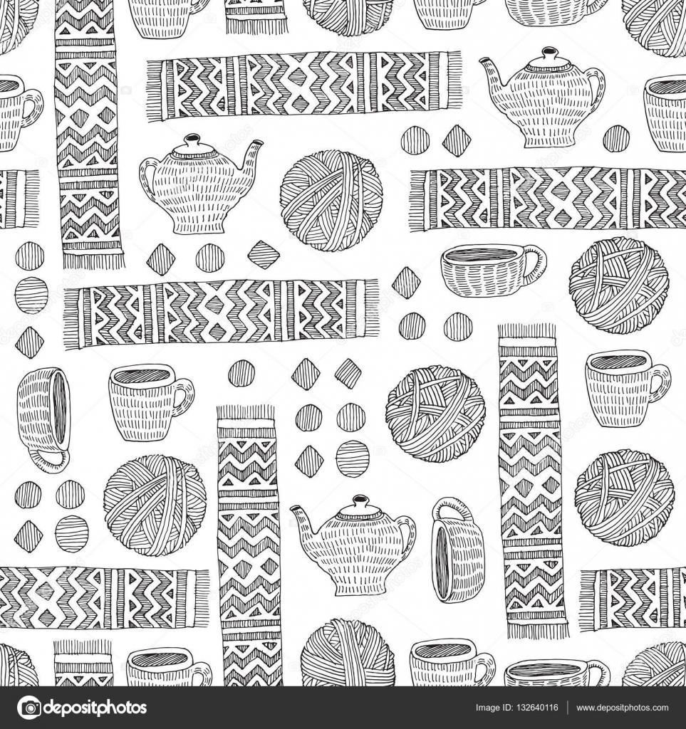 Doodle de vector patrón de hilado, la bufanda, taza y tetera ...