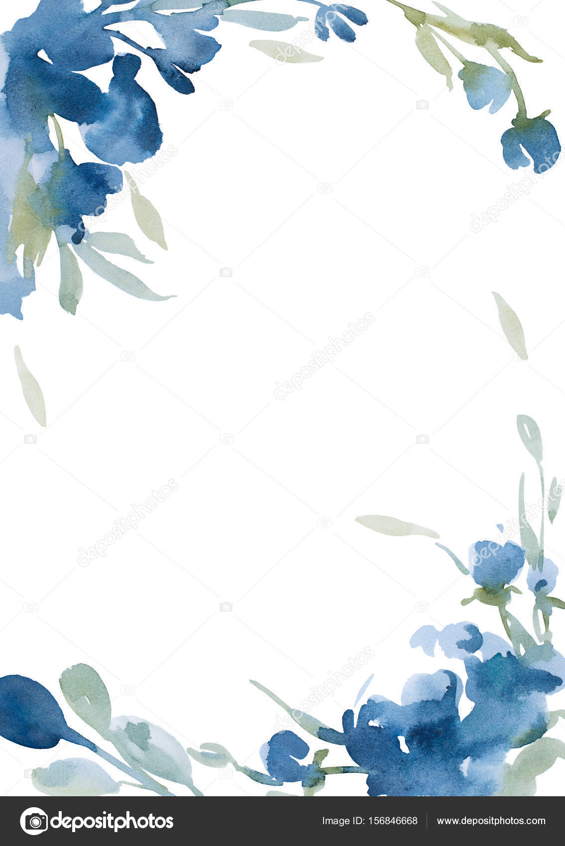 Watercolor Blue Flowers With Gray Grass On White Background For