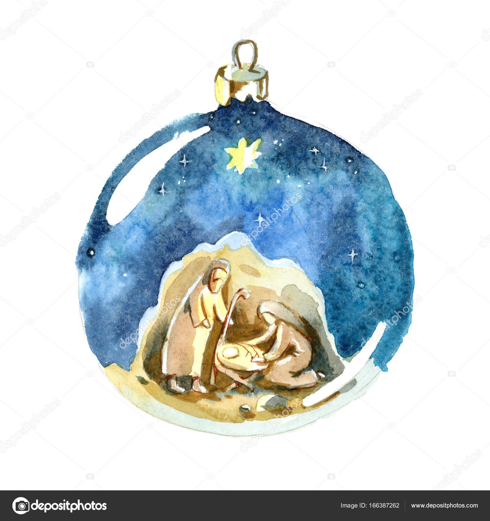 Aquarell Weihnachtskugel. Heilige Familie zeichnen im Kinder-Stil ...