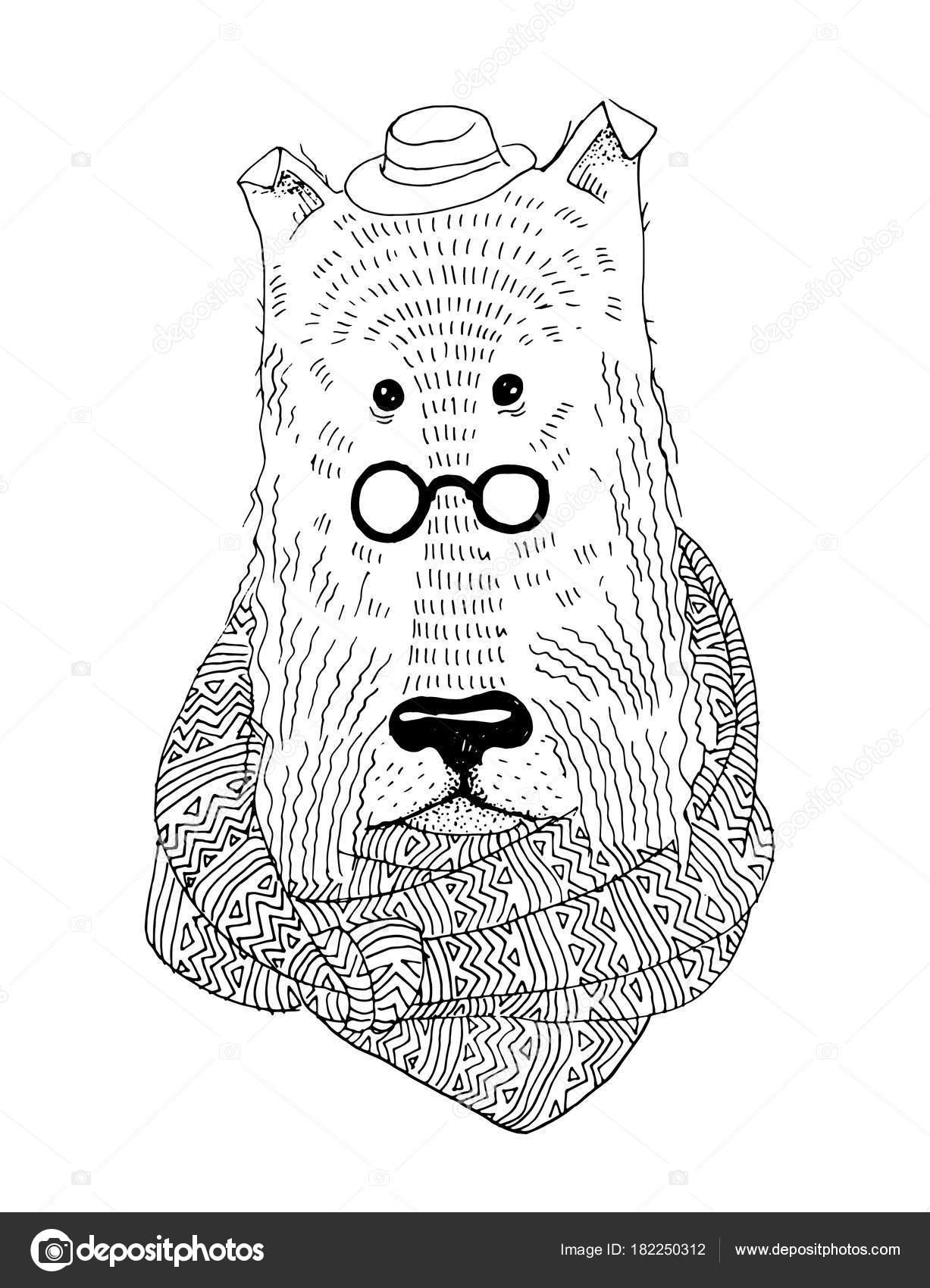 Vector retrato de perro con bufanda para colorear libro — Archivo ...