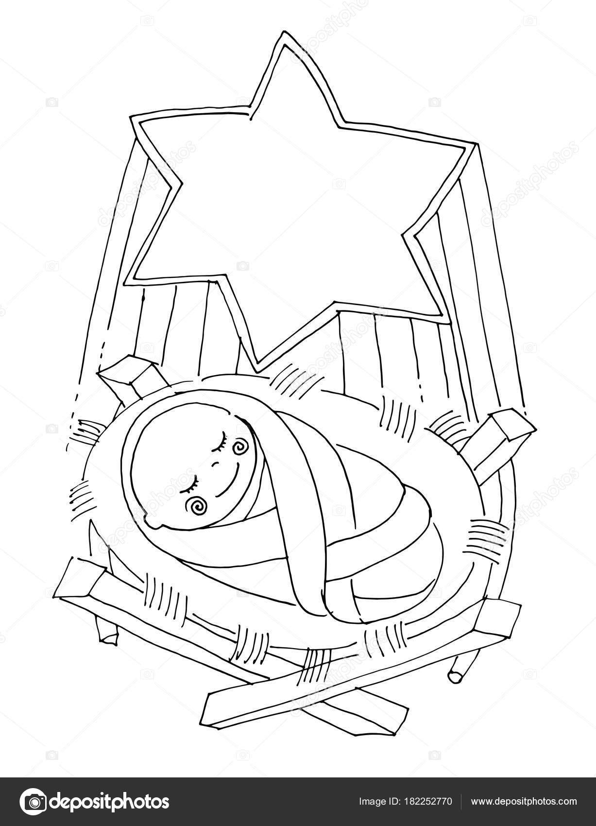 Vector Illustartion For Coloring Book Little Baby Jesus Lies In Stock Vector C Katbuslaeva 182252770