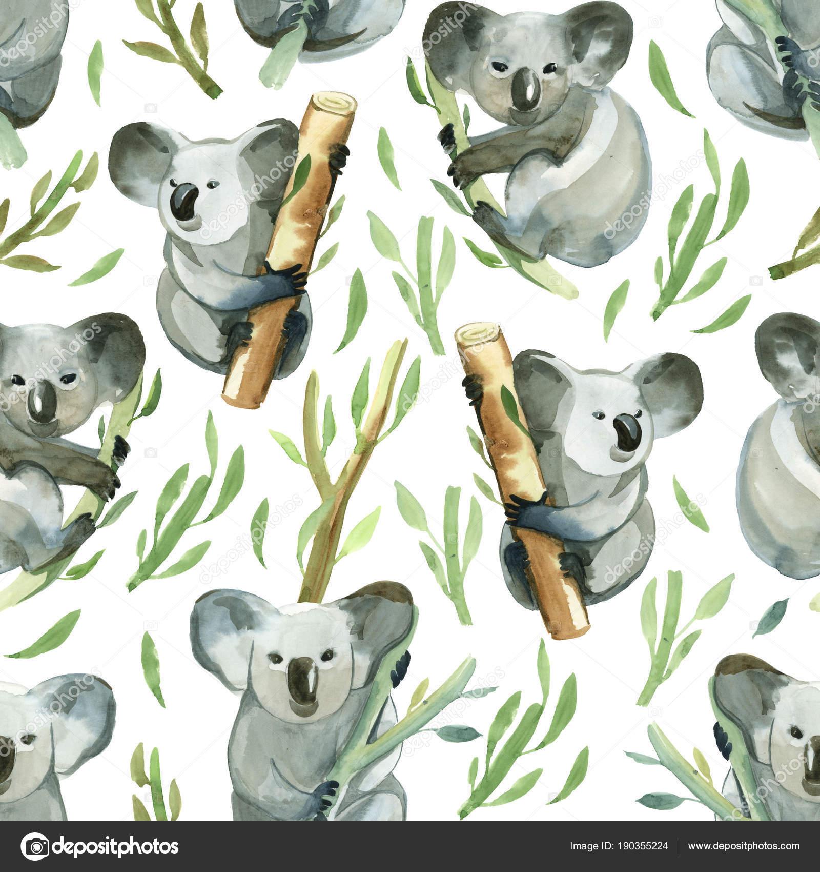 Patrón sin fisuras de acuarela koala es la celebración de la moda de ...