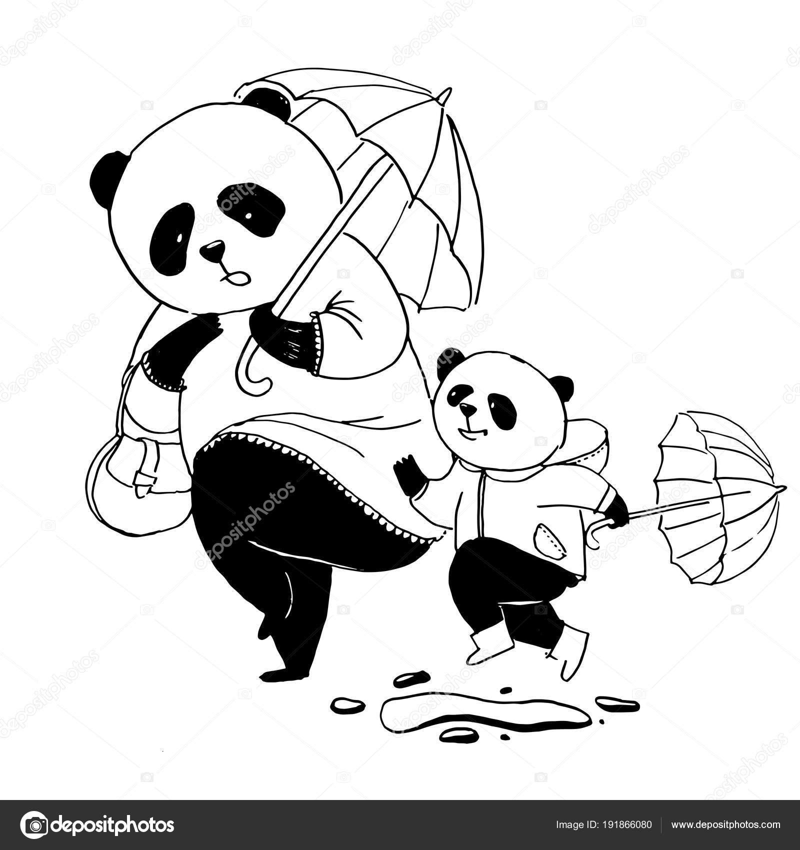Mamá panda en rosa Vestido de salir a pasear con su pequeño hijo ...