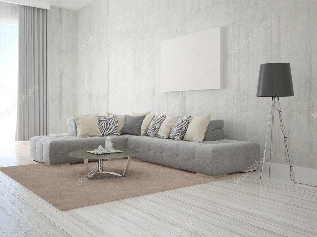 Soggiorno in stile moderno con un divano ad angolo — Foto Stock ...