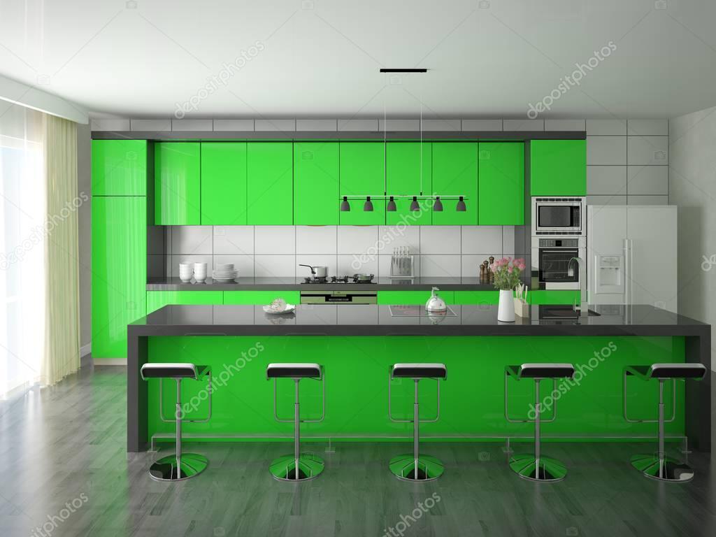 Cucina verde Hi-Tech — Foto Stock © wodoplyasov #130218604