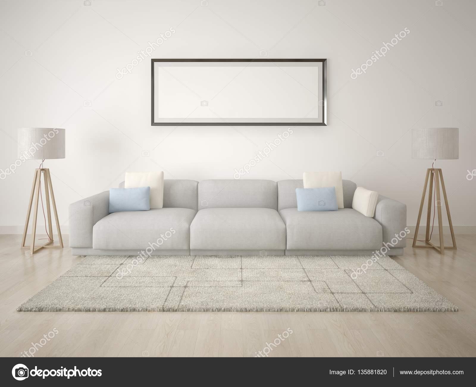 Mock-up Poster Wohnzimmer mit leeren Rahmen — Stockfoto ...