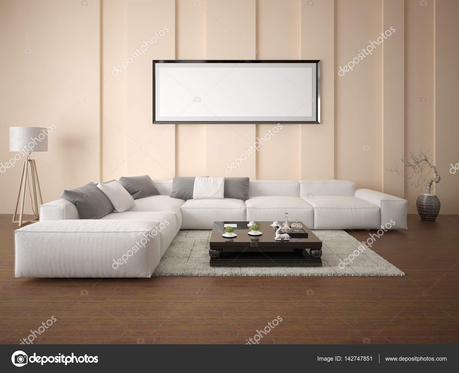 Mock up poster un luminoso soggiorno con un divano ad angolo — Foto ...