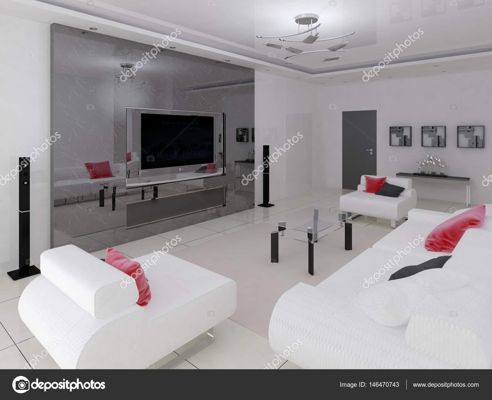 Moderne Wohnzimmer im High-Tech-Stil — Stockfoto © wodoplyasov ...