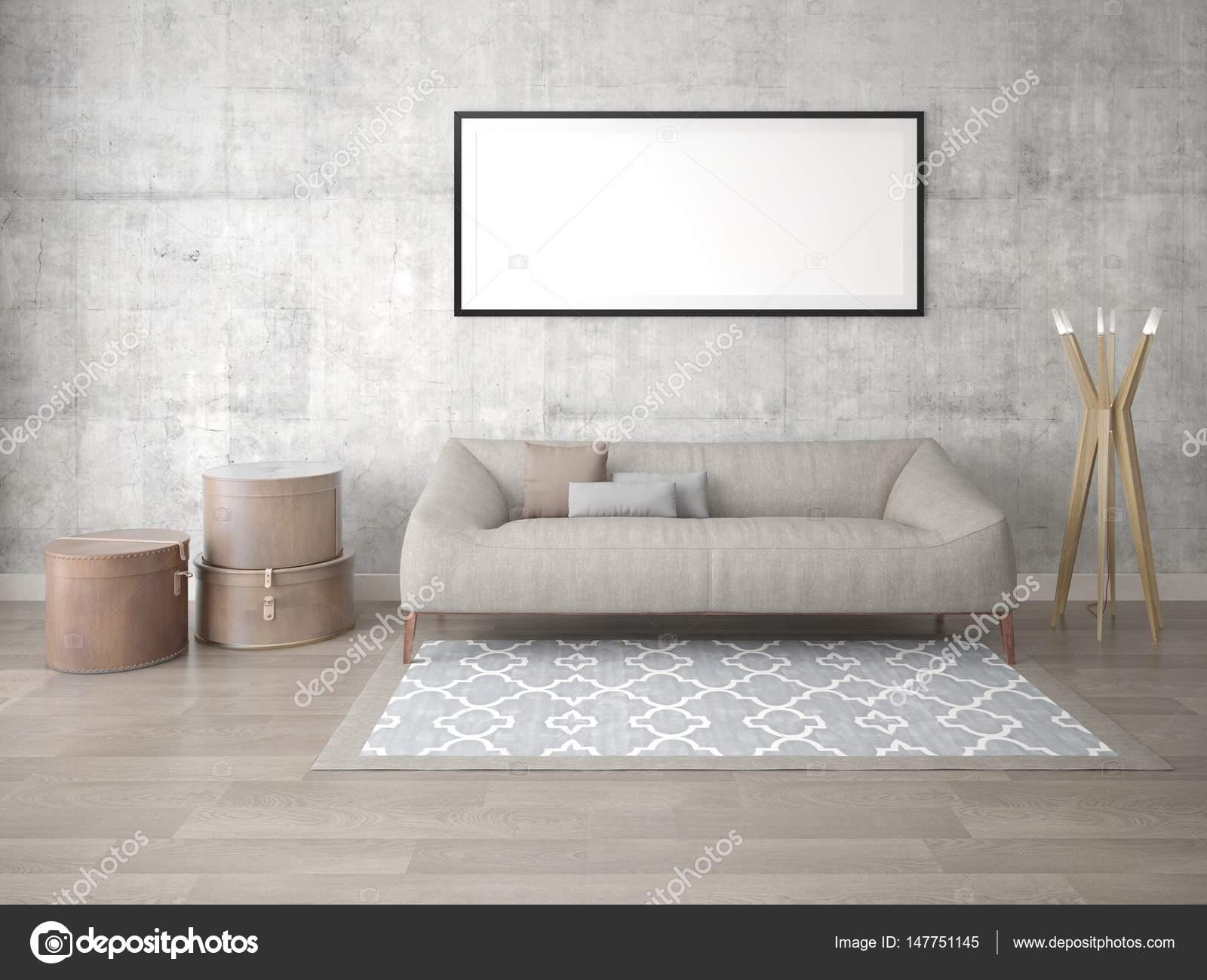 Mock up poster soggiorno con divano letto alla moda — Foto Stock ...