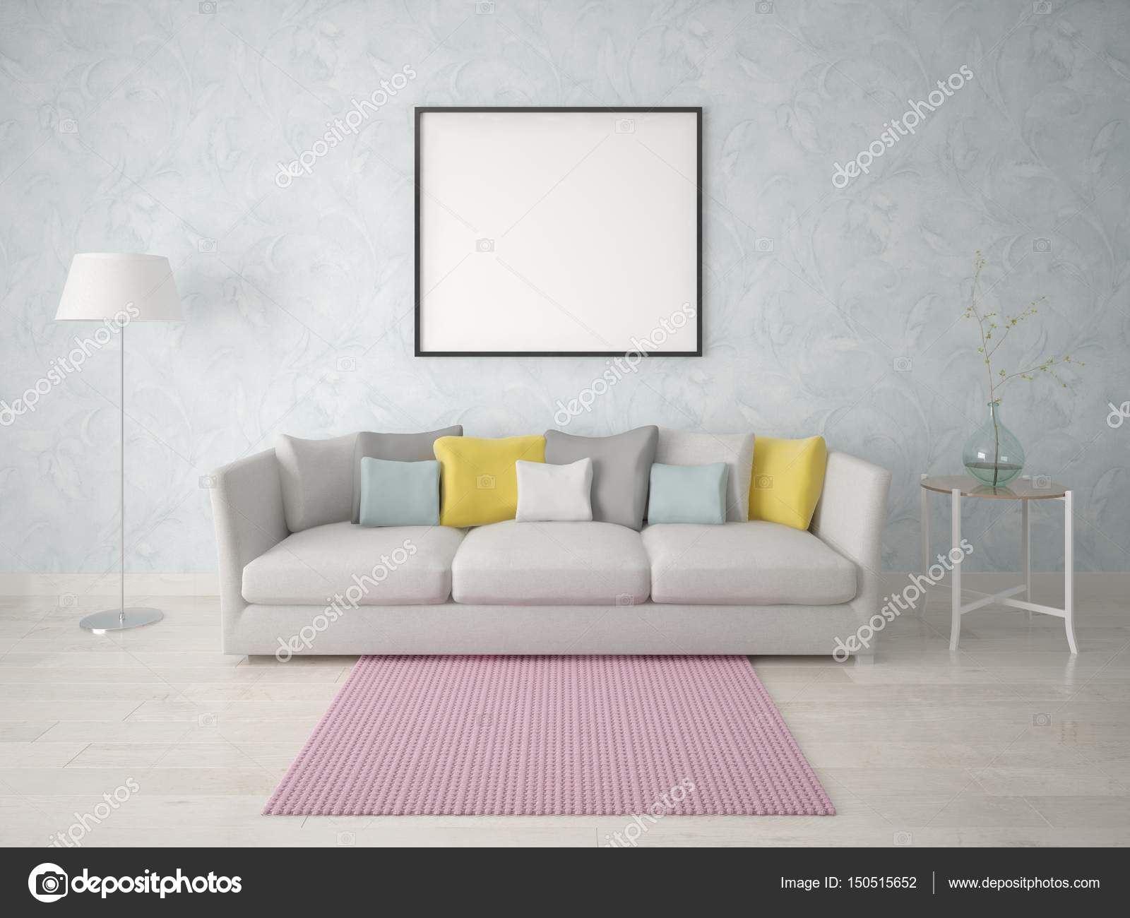 Mock up a simple living room with a compact sofa. — Stock Photo ...