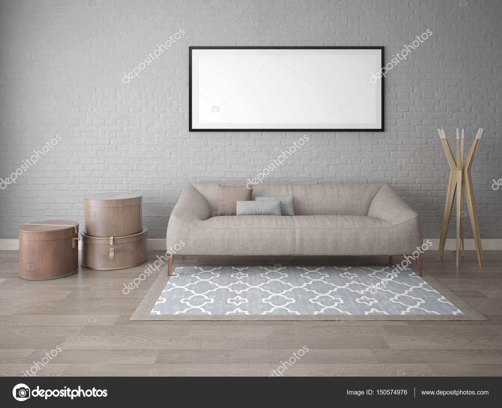 Manichino di un classico soggiorno con un divano ad angolo morbido