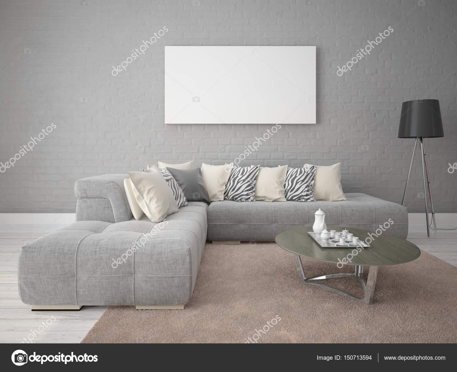 Salotto Moderno Elegante : Manichino di un moderno soggiorno con un divano elegante u2014 foto