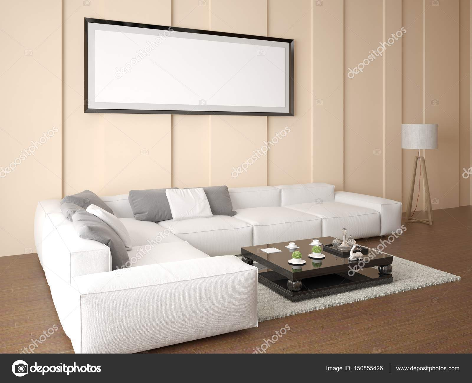 Mock up an empty frame in a bright living room with a stylish corner ...