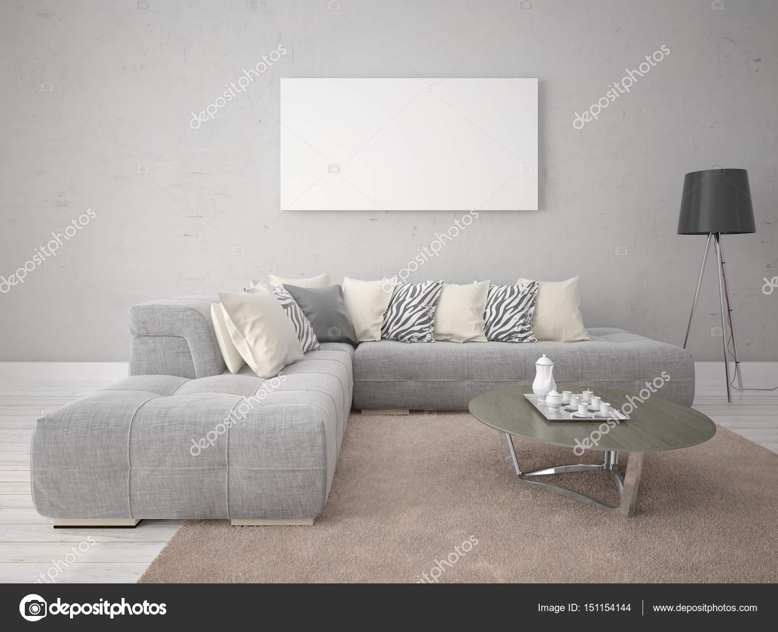 Mock Up Ein Modernes Wohnzimmer Mit Eine Exklusive Sofa Stockfoto
