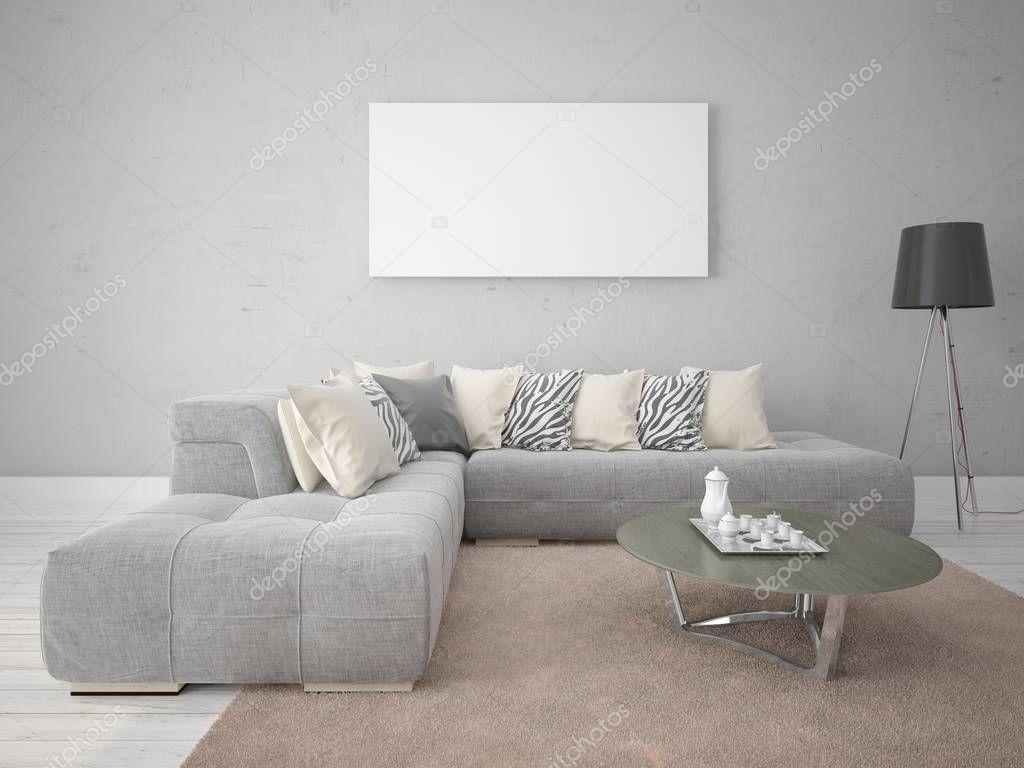 Mock-up Ein Modernes Wohnzimmer Mit Eine Exklusive Sofa