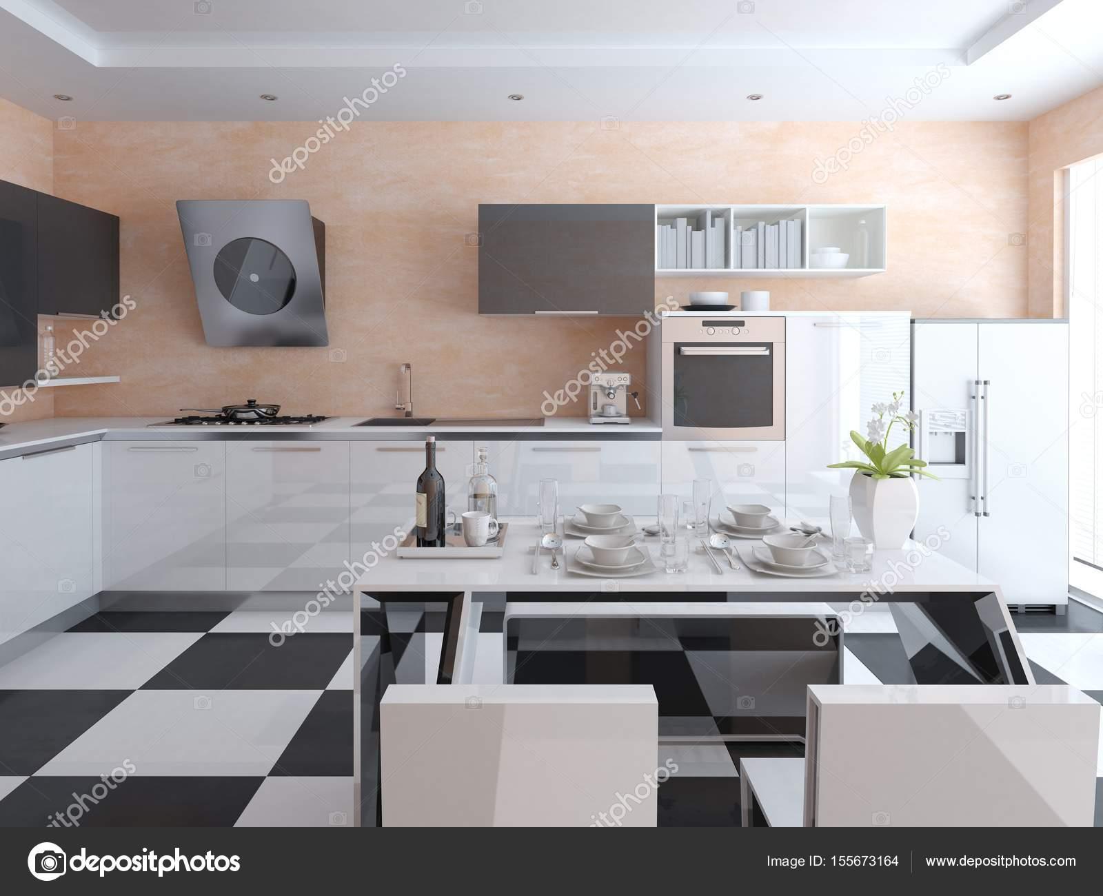 Cucina hi-tech con mobili alla moda — Foto Stock © wodoplyasov ...