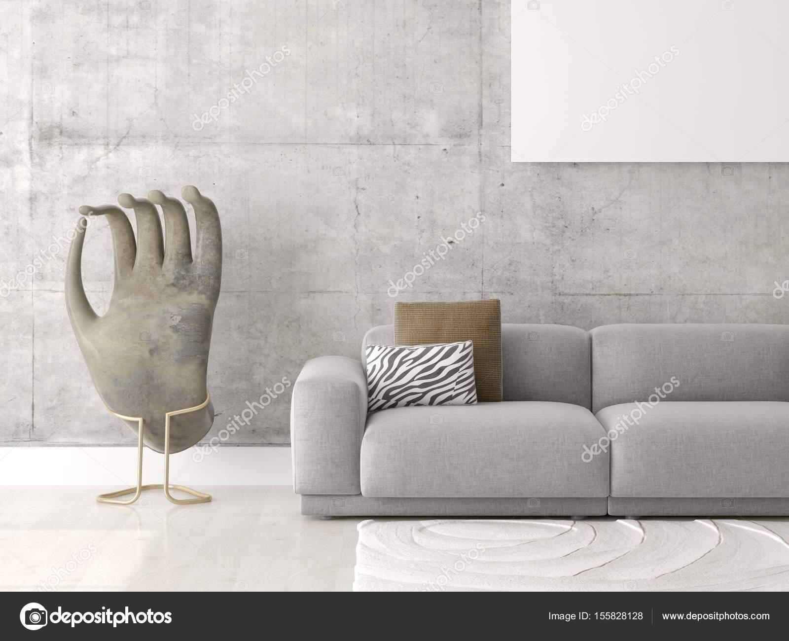 Bespotten van een trendy woonkamer met een comfortabele bank ...