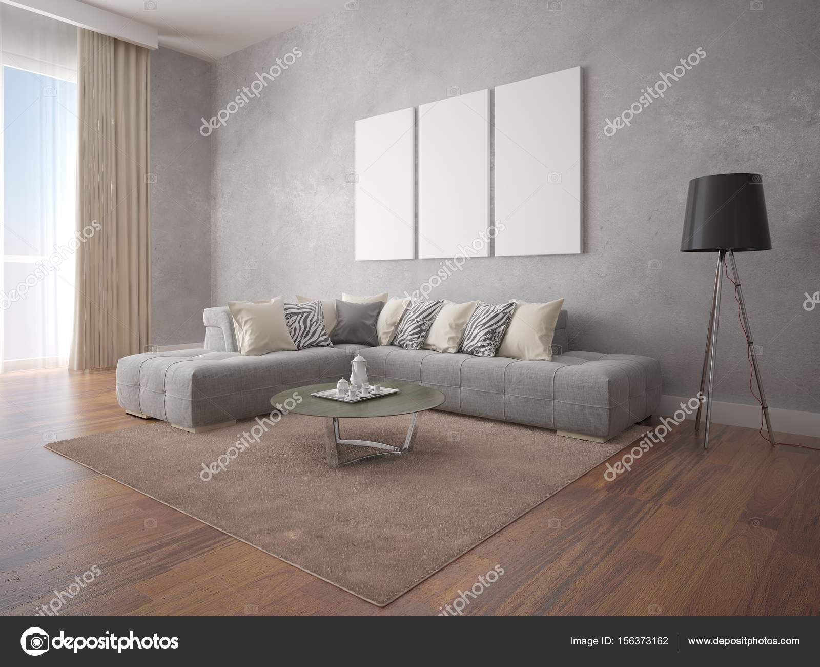 Deridere il soggiorno con un divano ad angolo elegante — Foto Stock ...