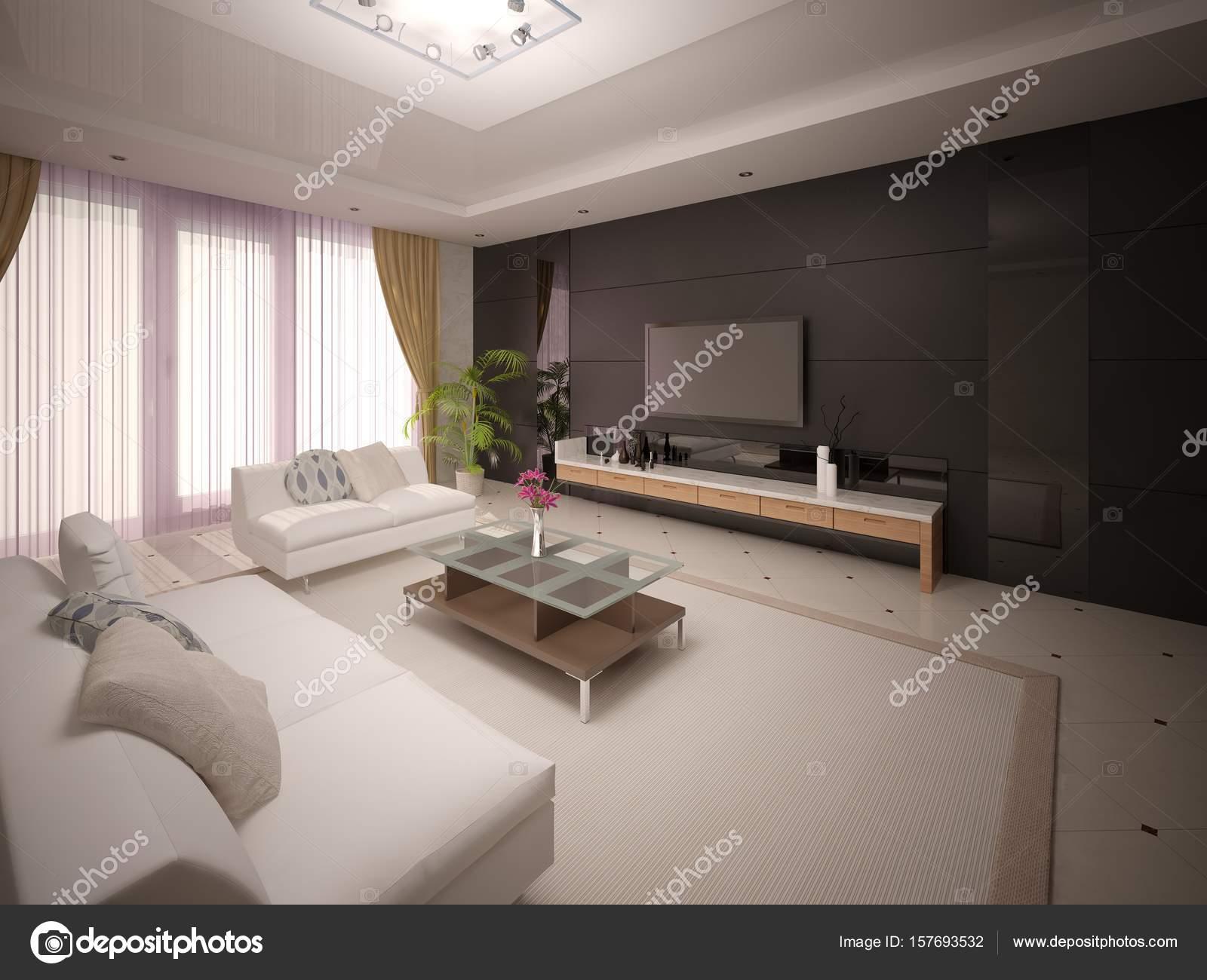 Arredamento Moderno Elegante : Salone moderno elegante con arredamento confortevole u foto stock
