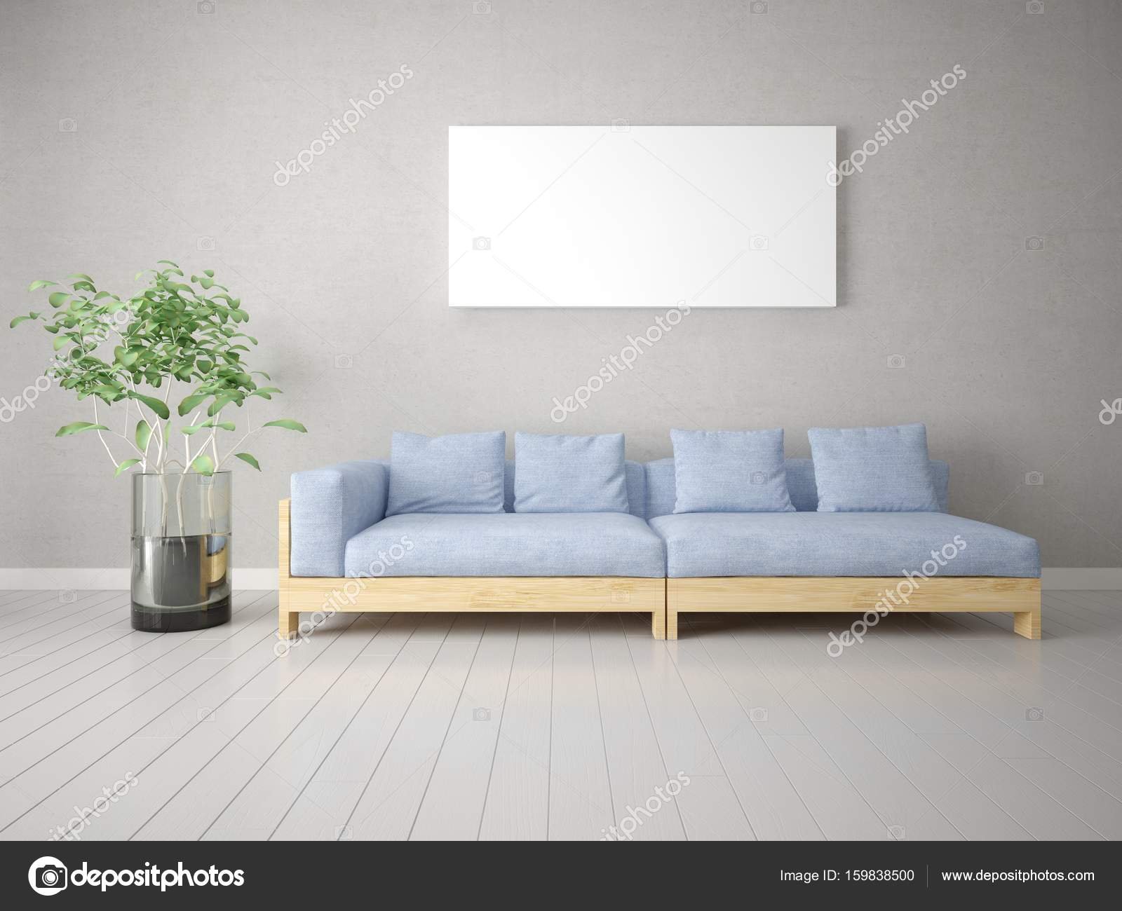 Mock up a stylish living room with a comfortable sofa. — Stock Photo ...