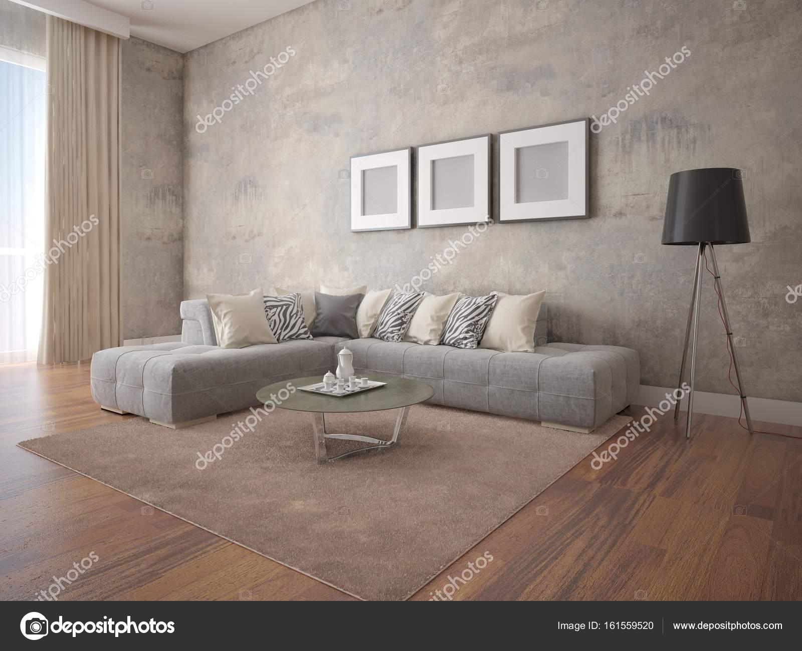 Manichino di un ampio soggiorno con un divano ad angolo elegante ...