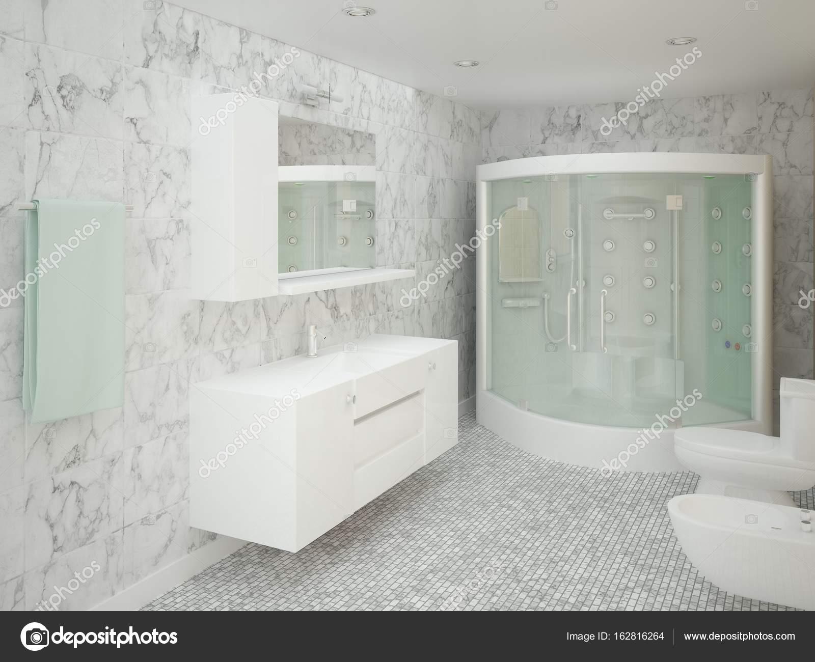 Moderno bagno con piastrelle di ceramica alla moda u foto stock