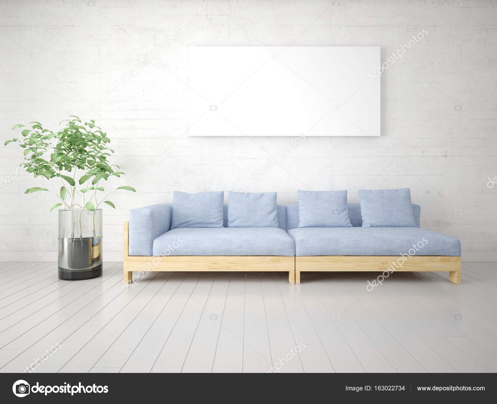 Manichino di un luminoso soggiorno con un divano insolito — Foto ...