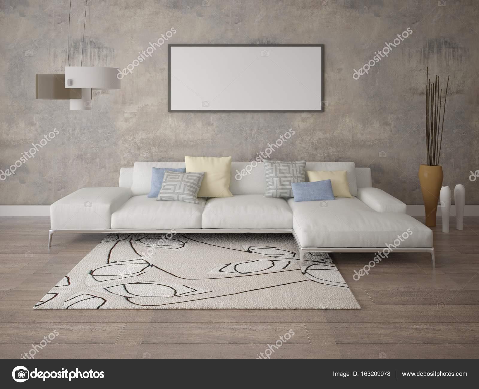 Manichino di un elegante soggiorno con un divano ad angolo — Foto ...