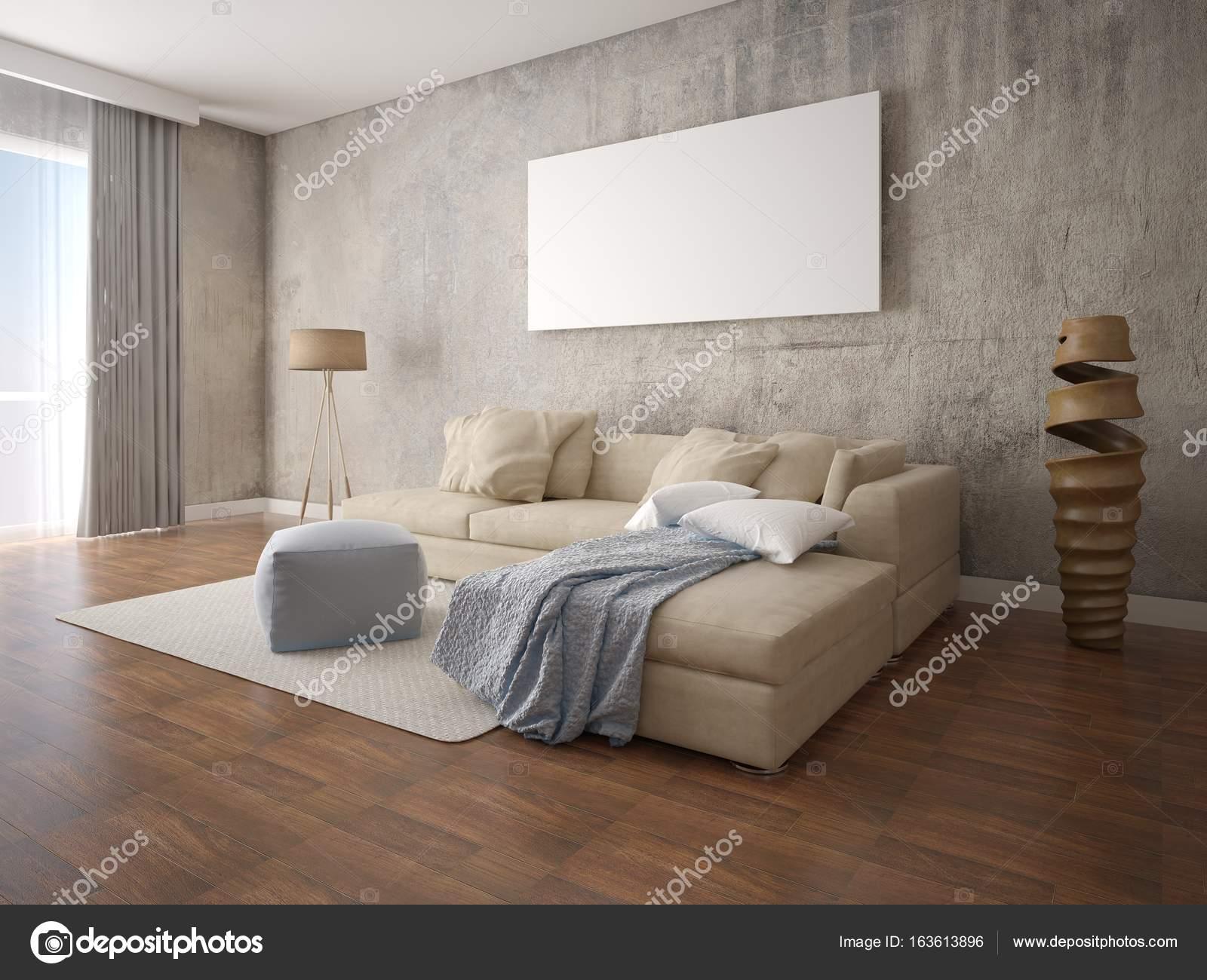 Mock up moderno soggiorno accogliente con divano ad angolo beige ...