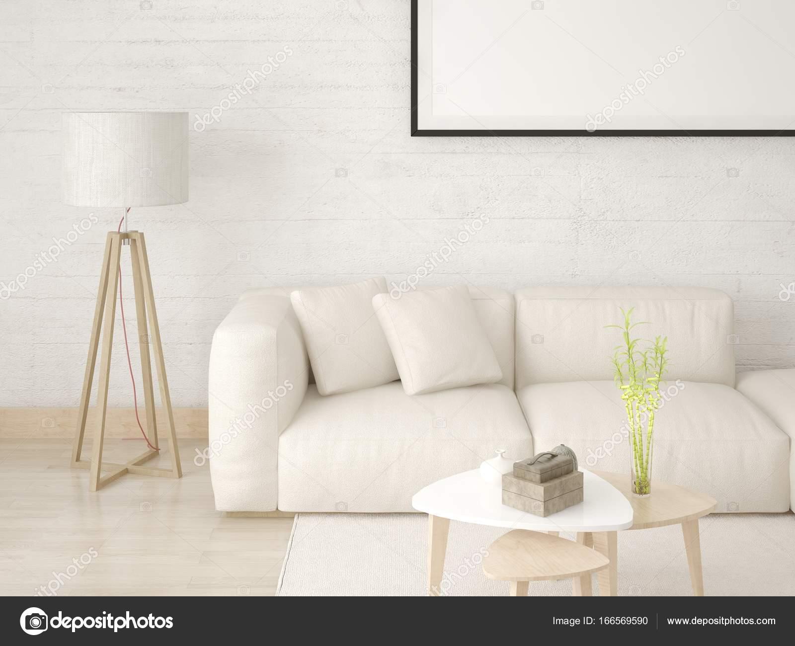Mock-up ein modernes Wohnzimmer mit gemütlichem Sofa leichte ...